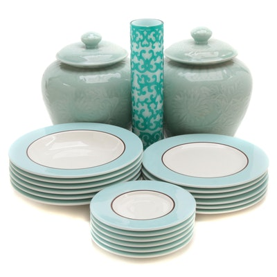 """Pagnossin """"Audrey"""" Dinnerware with Other Ceramic Lidded Jars and Cut Glass Vase"""