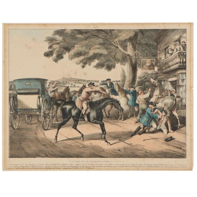 """Edward Hull Hand-Colored Lithograph """"Capture and Death of King;Flight of Turpin"""""""