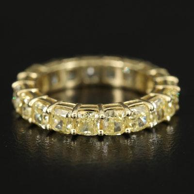 18K 5.60 CTW Yellow Diamond Eternity Band with GIA Reports