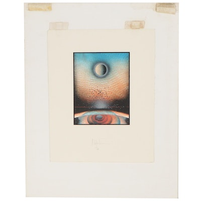 Abstract Celestial Lithograph, Late 20th Century