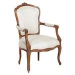 Louis XV Style Carved Walnut Armchair, Mid to Late 20th Century