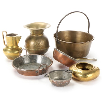 Brass Hearth Bucket with Spittoon and Other Brass Decor