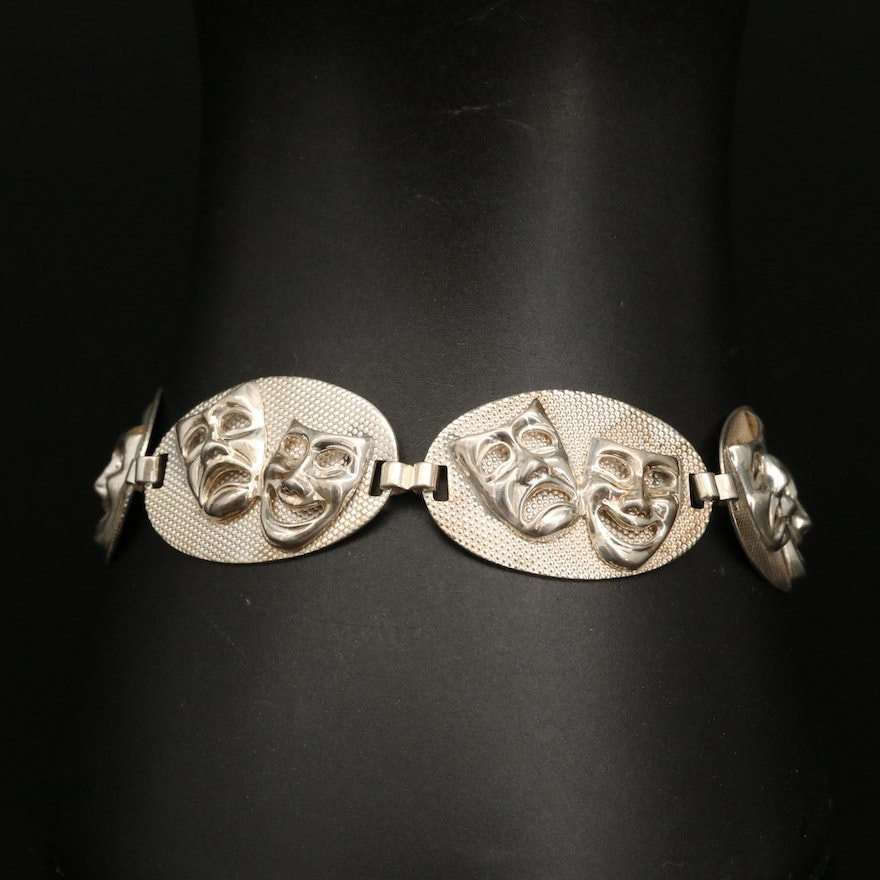 Vintage Beau Sterling Silver Thespian Comedy and Tragedy Oval Link Bracelet