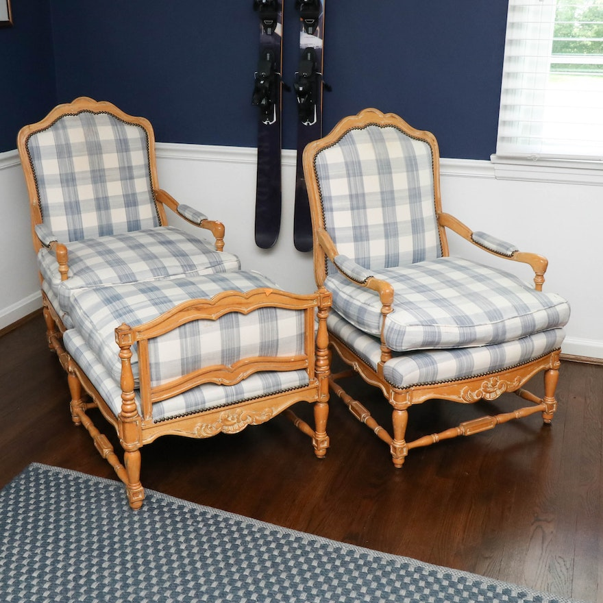 Cal-Mode French Provincial Three-Piece Duchesse Brisée Chair and Ottoman Set