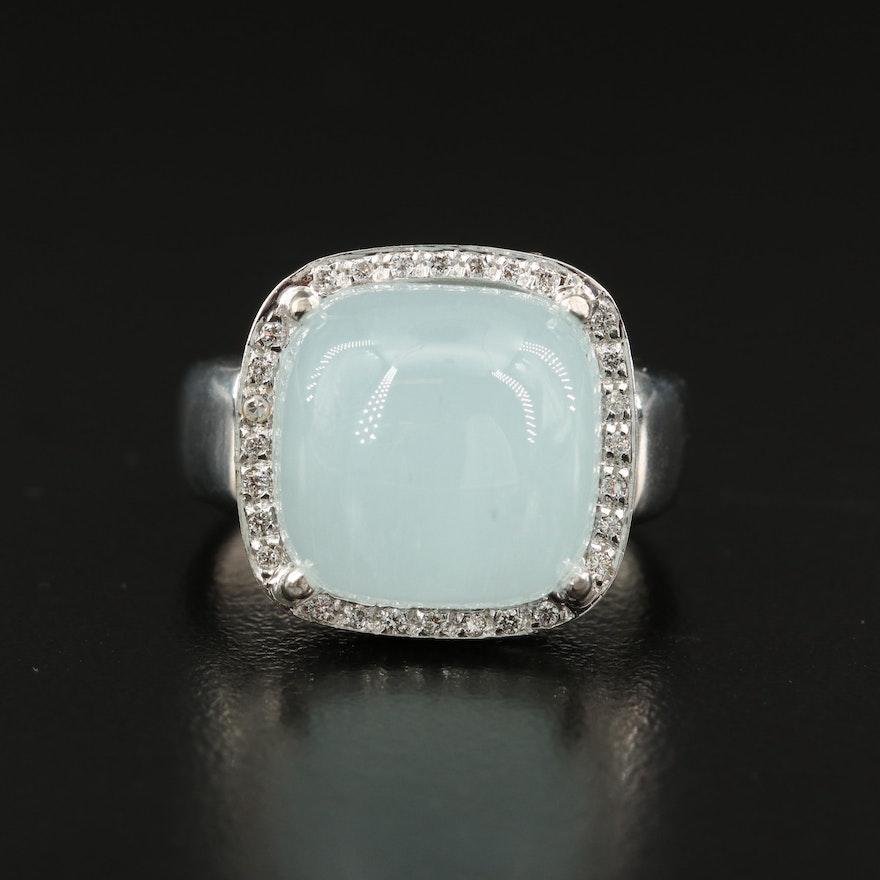 Rina Limor 18K Chalcedony and Diamond Halo Ring