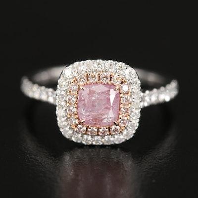 18K 1.50 CTW Diamond Double Halo Ring with GIA Report