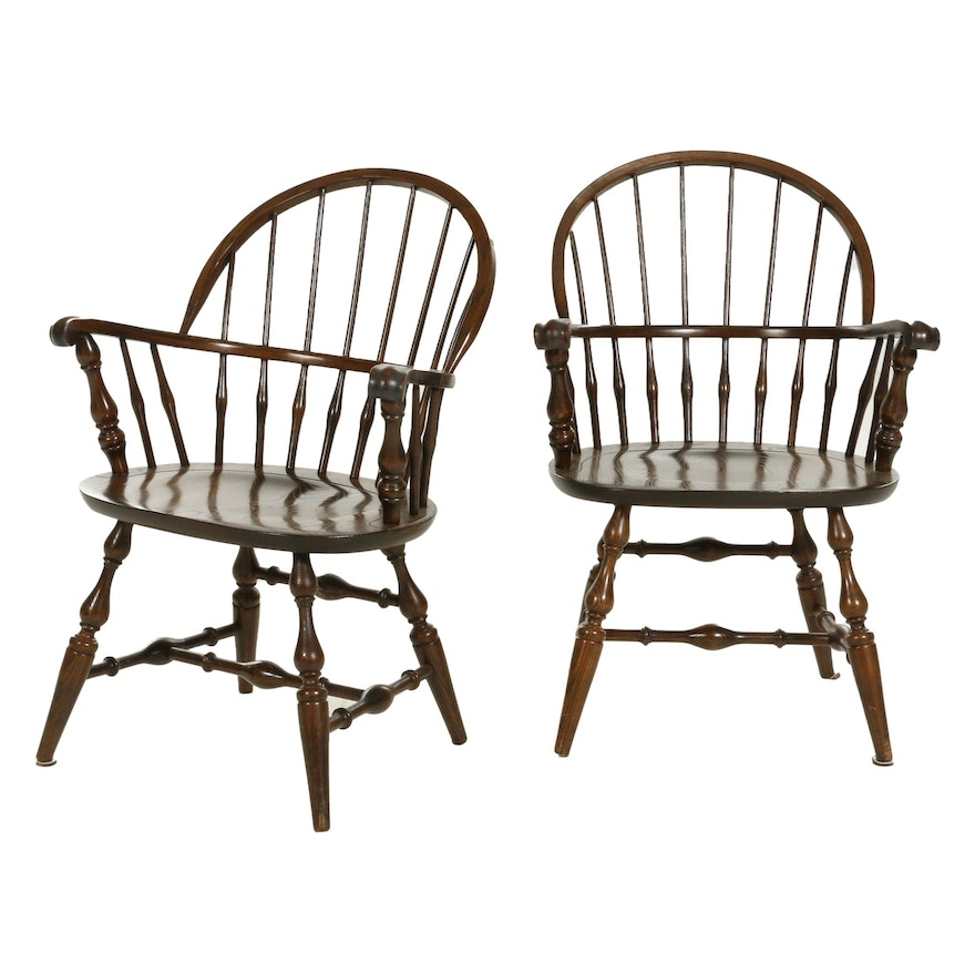 Pair of Nichols & Stone Windsor Style Armchairs, Late 20th Century