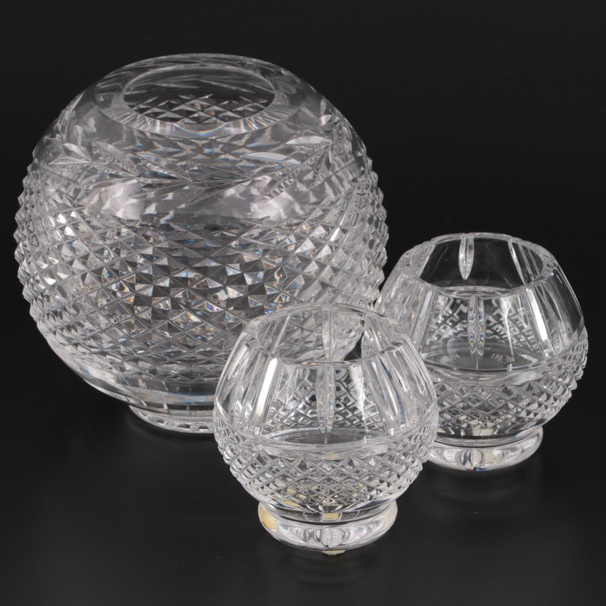 """Waterford Crystal """"Glandore"""" Rose Bowl and Pair of Crystal Votive Candle Holders"""