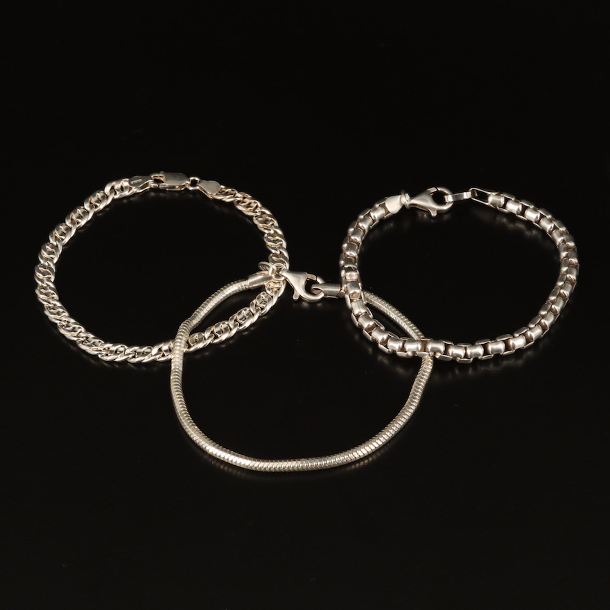 Sterling Bracelets Including Mariner, Box and Snake Chain