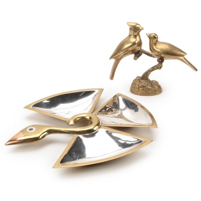 Los Castillo Mirrored Dish with Brass Birds Figurine, Mid to Late 20th Century