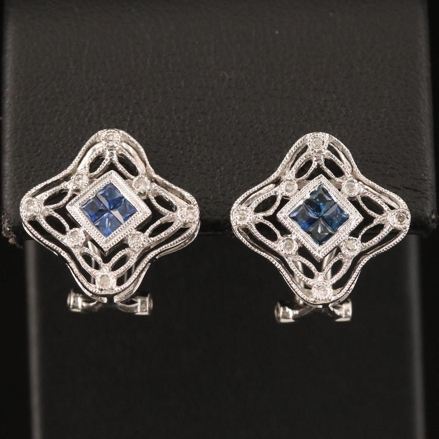 14K Sapphire and Diamond Quatrefoil Earrings