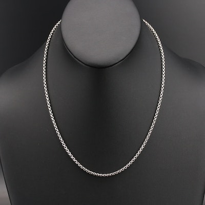 David Yurman Sterling Box Chain Necklace with 14K Accent
