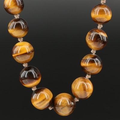 Graduated Tiger's Eye Beaded Necklace with Sterling Clasp