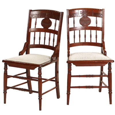 Victorian Carved Mahogany Side Chairs, Early 20th Century