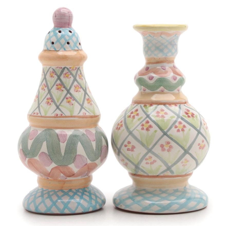 """MacKenzie-Childs """"Heather"""" Sugar Shaker and Bud Vase, 1996"""