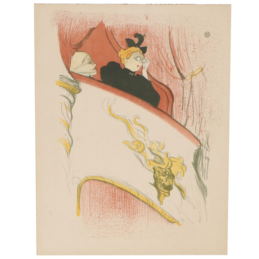 """Lithograph After Henri de Toulouse-Lautrec """"The Box With The Gilded Mask"""""""
