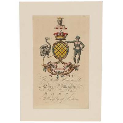 Hand-Colored Engraving of Henry Willoughby Heraldry