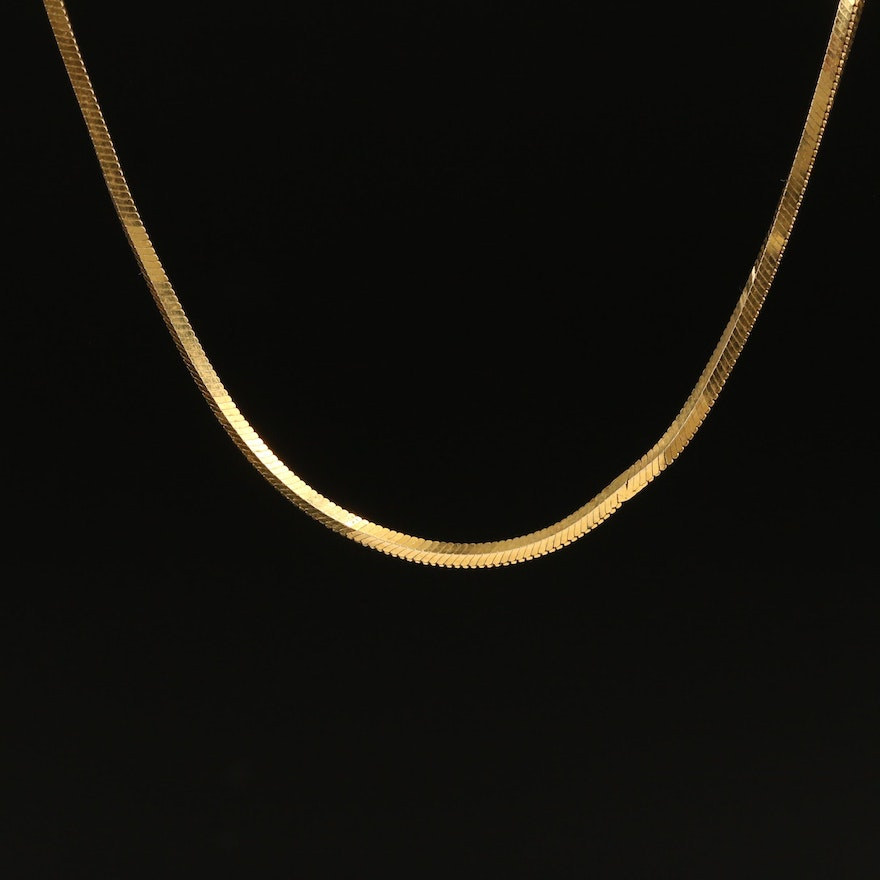 Italian 14K Square Snake Chain Necklace