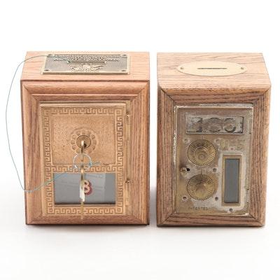 Original United States Post Office Lockboxes Repurposed as Coin Banks