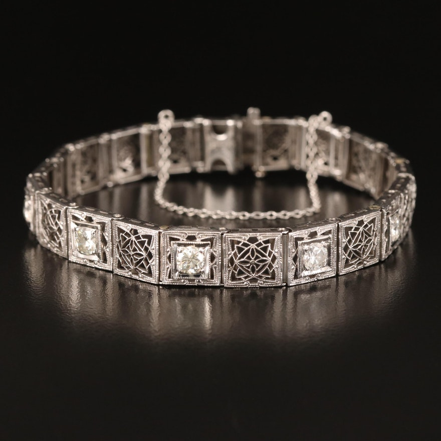 Early Art Deco 14K and Platinum 1.15 CTW Diamond Bracelet