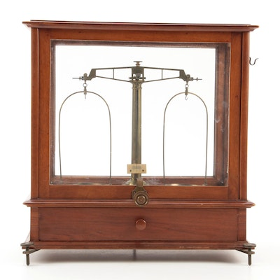 Apothecary Scale in Oak and Walnut Cabinet with Weights, Late 19th/Early 20th C