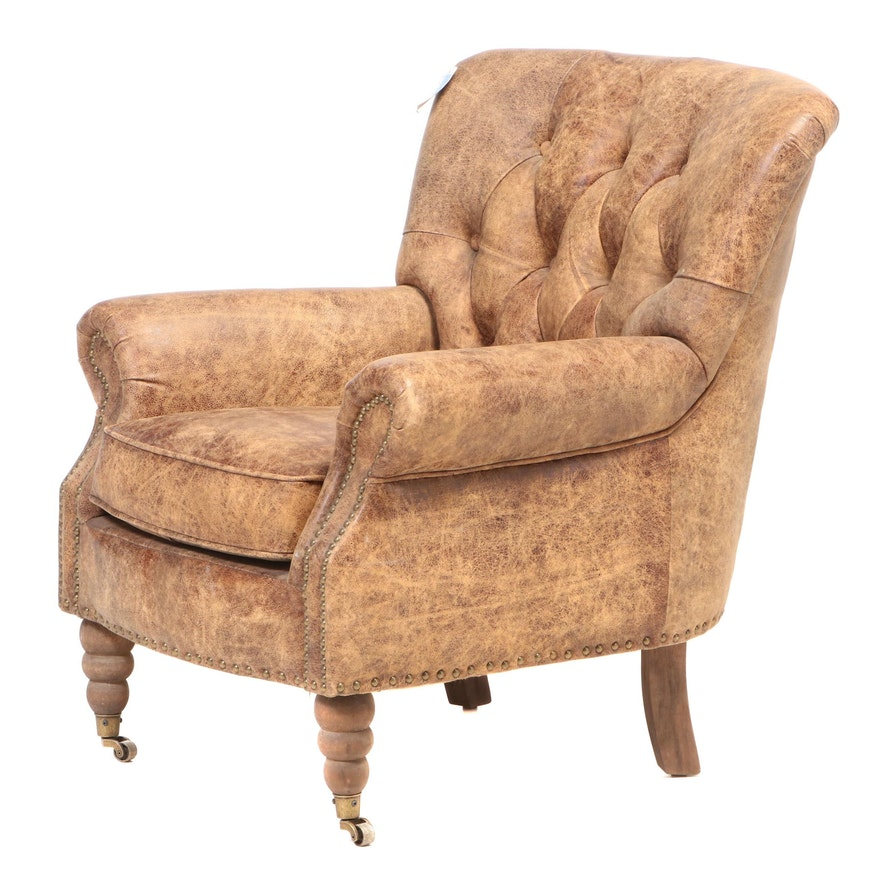 """Blue Ocean Traders """"Blenheim"""" Brass-Tacked and Buttoned-Down Leather Club Chair"""