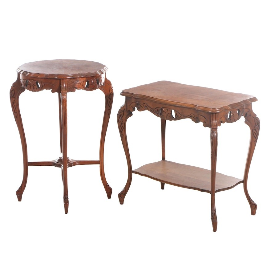 Rococo Style Walnut Side Tables, Mid-20th Century