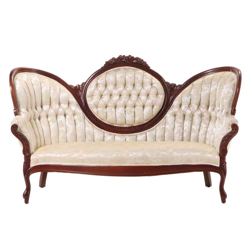 Rococo Revival Style Mahogany Buttoned-Down Sofa, Late 20th Century