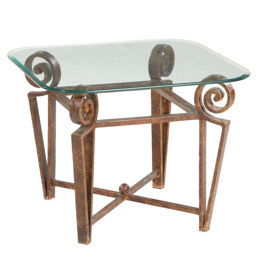 Scrolled Cast Iron Table with Beveled Glass Top