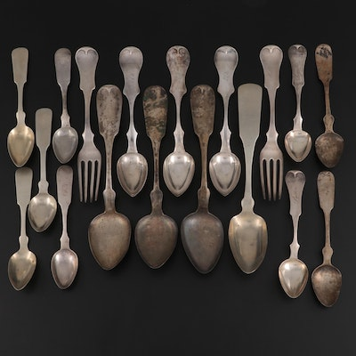 Cincinnati and Other Coin Silver Fiddle Handle Flatware and Serving Utensils