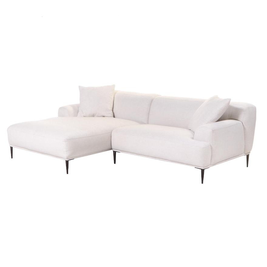 "Article ""Abisko"" Modernist Style Left-Sided Sectional Sofa in Quartz White"