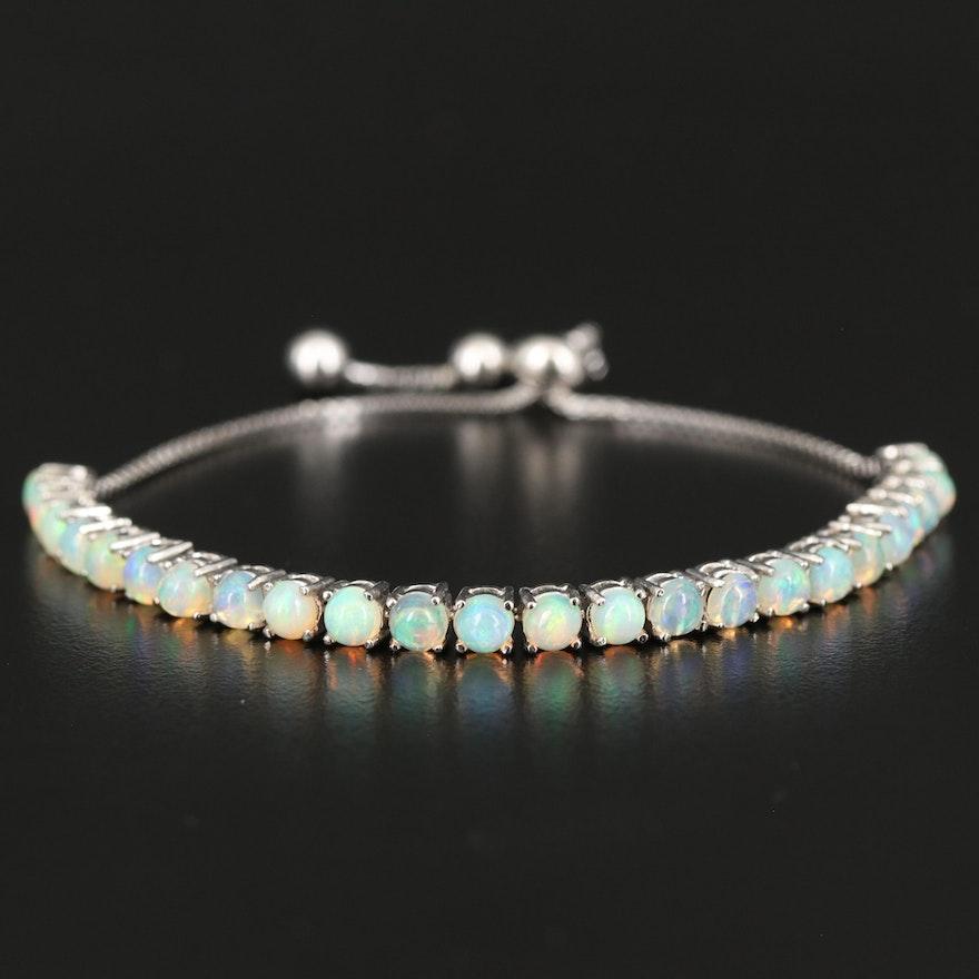 Sterling Silver Opal Bolo Bracelet