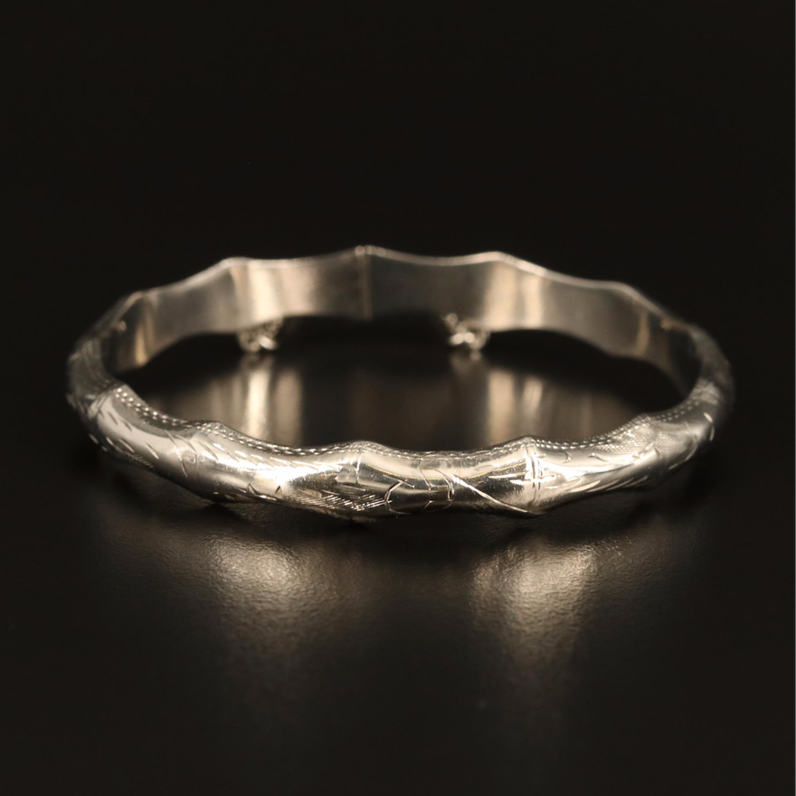 Sterling Silver Hinged Bangle with Bamboo Motif