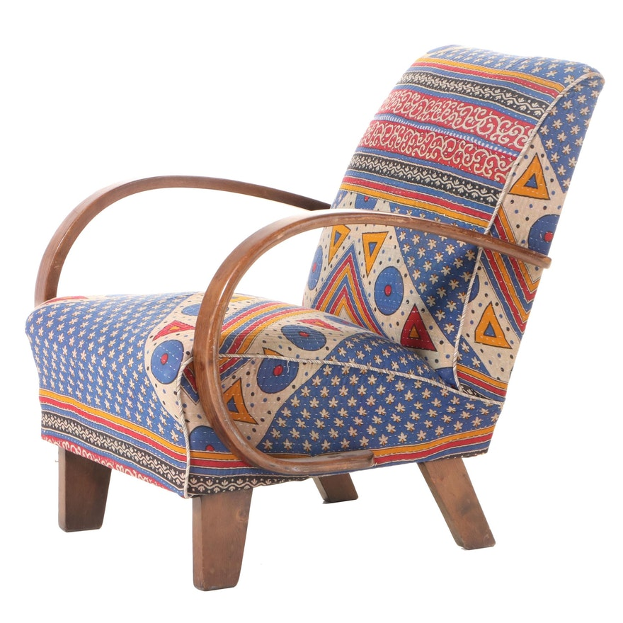 "Modernist Style Custom-Upholstered Beech ""Bent Arm"" Lounge Chair"