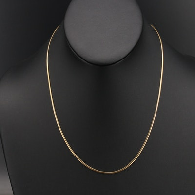Italian 14K Flat Snake Chain Necklace