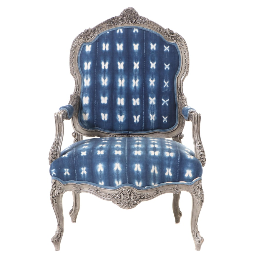 Louis XV Style Grey-Painted Fauteuil in Tie Dye Mud Cloth