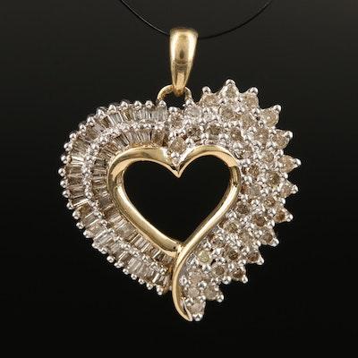 10K 1.02 CTW Diamond Heart Pendant