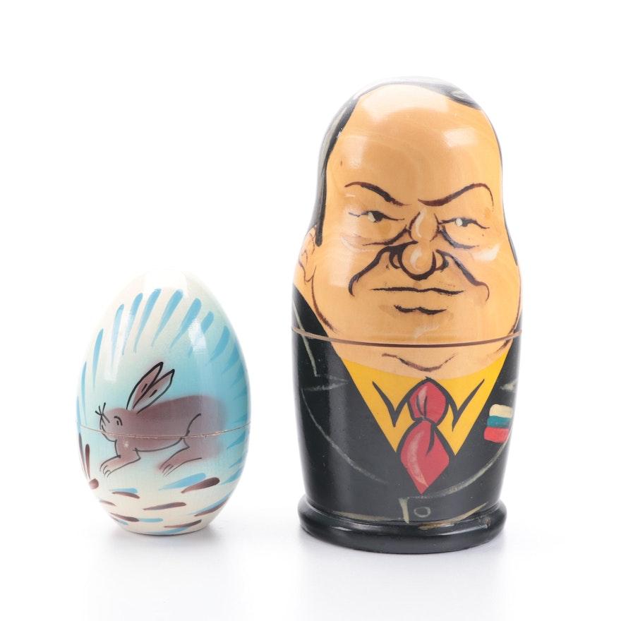 Russian Leaders Matroyshka Nesting Dolls with Egg and Rabbit Figurines