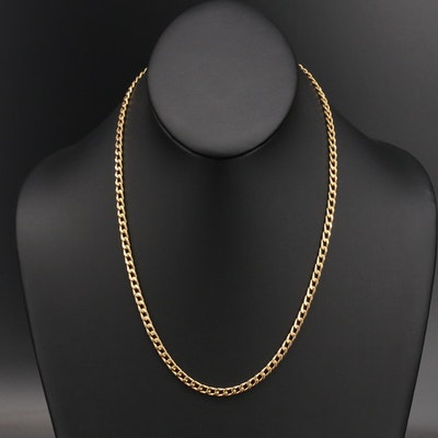 Italian UnoAErre 14K Curb Chain Necklace