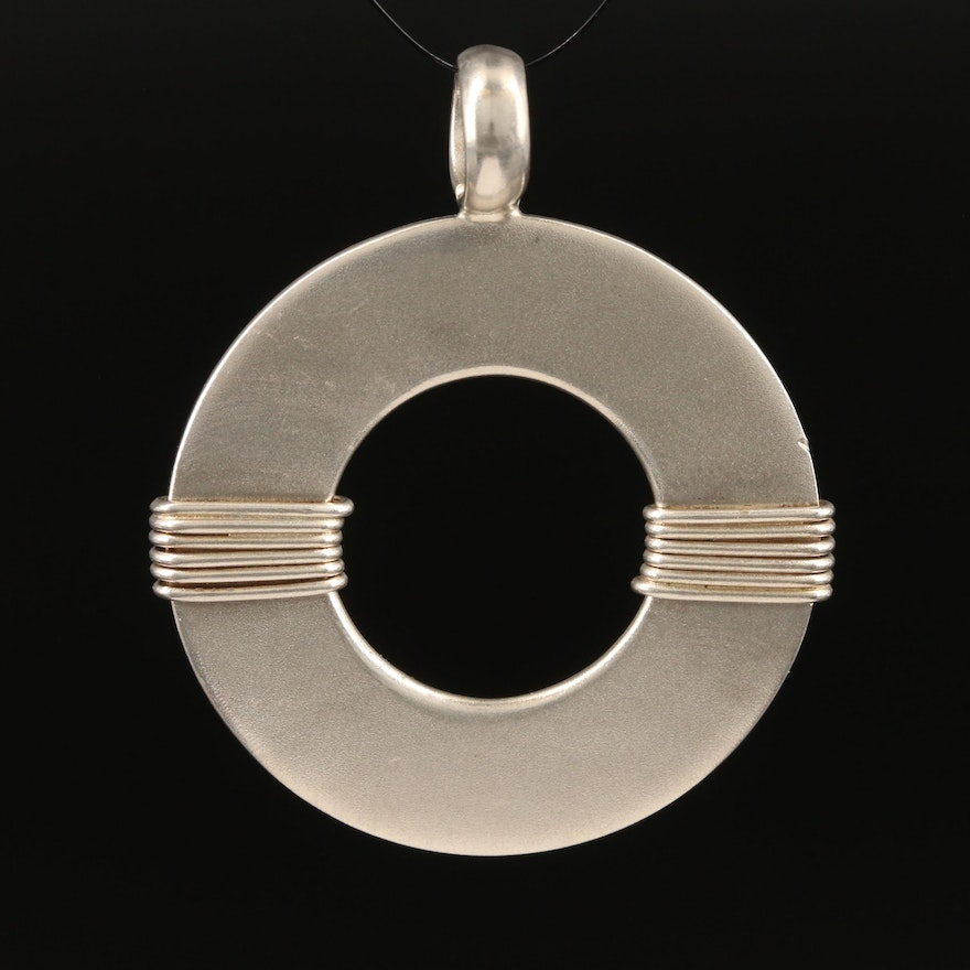 Sterling Silver Circle Pendant with Wrap Detail