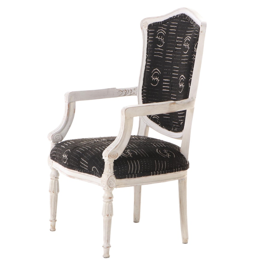 Louis XVI Style White-Painted and Custom-Upholstered Fauteuil