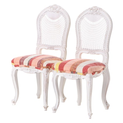 Pair of Louis XV Style White-Painted, Caned, and Custom-Upholstered Side Chairs