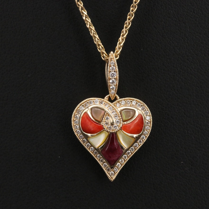Kobana 14K Diamond and Gemstone Inlay Heart Pendant on Italian Chain Necklace
