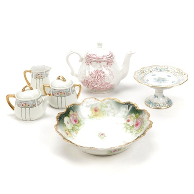 """Schuman """"Forget Me Not"""" Chalet, Royal Wessex and Other Porcelain Tea Set"""