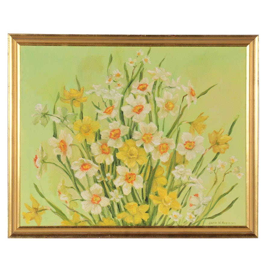 Eloise W. Atkinson Oil Painting of Daffodils, Late 20th Century