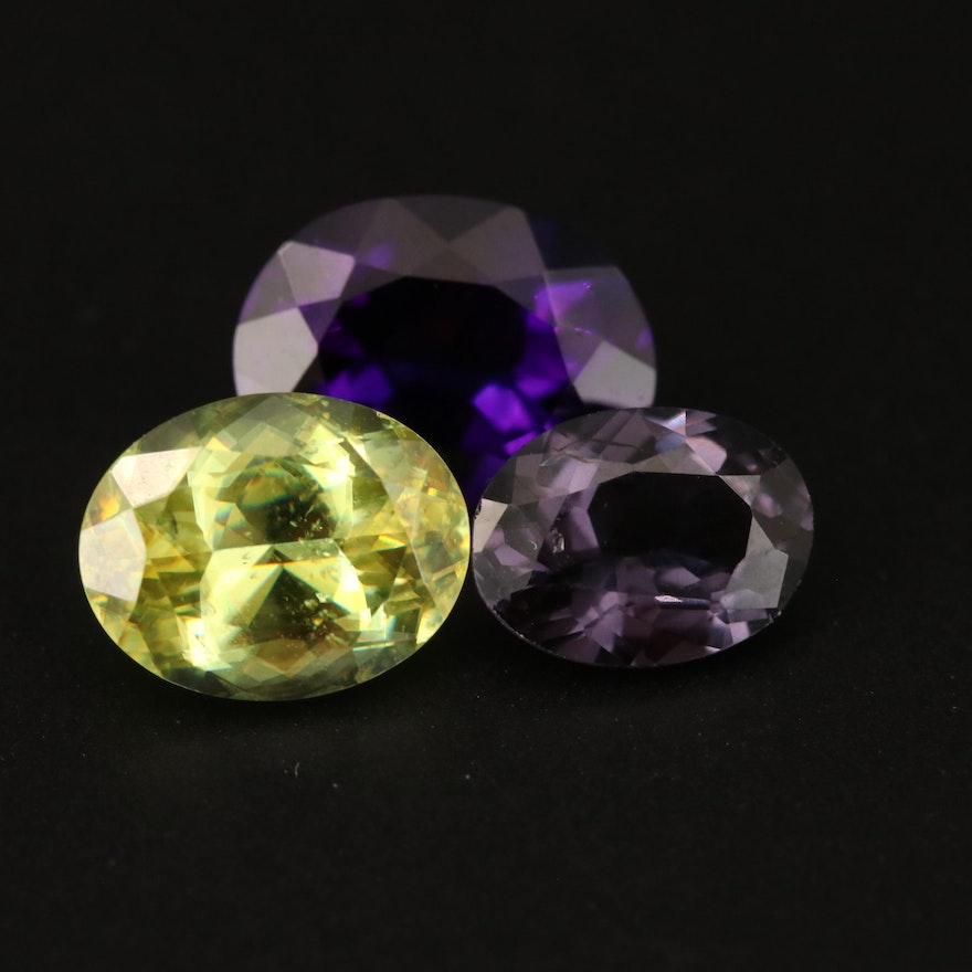Loose 5.84 CTW Oval Faceted Amethyst, Sphene and Spinel