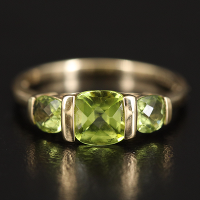 14K Peridot Three Stone Ring