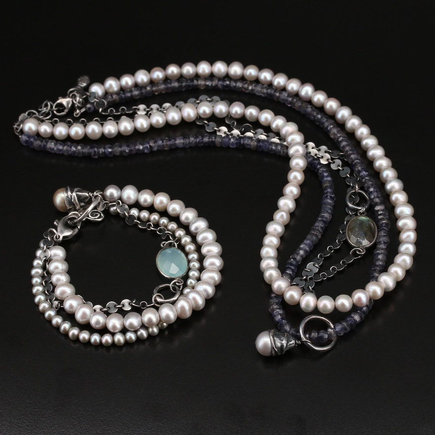 Sterling Pearl and Gemstone Multi-Strand Necklace and Bracelet Set