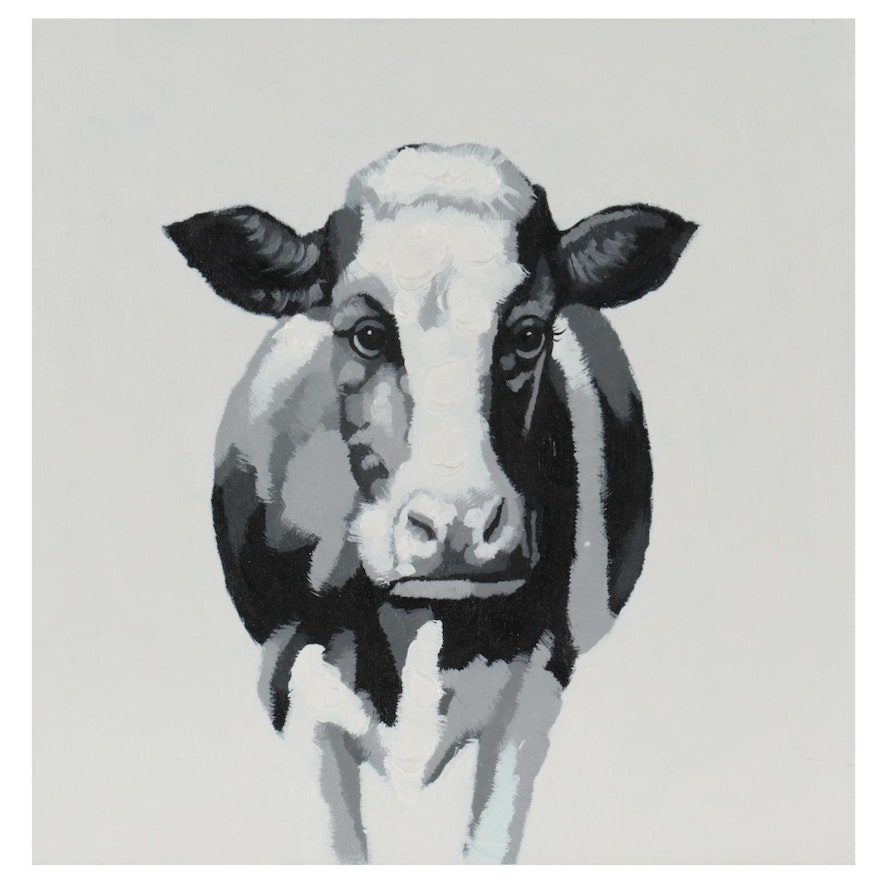 Acrylic Painting Over Giclée of Cow, 21st Century