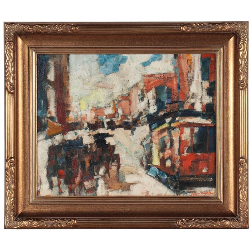 "Serguei Novitchkov Oil Painting ""Central Street,"" 2020"